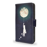 Burn the Midnight Oil - Blue Sony Xperia Z5 vegan leather wallet case, artisitc, moon