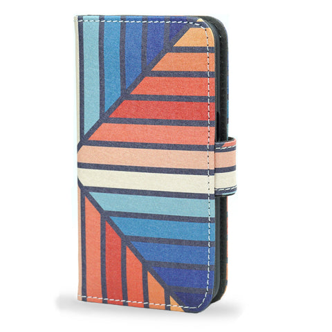 Celebration - Colourful blue, orange, red iPhone 5/5S vegan leather wallet case