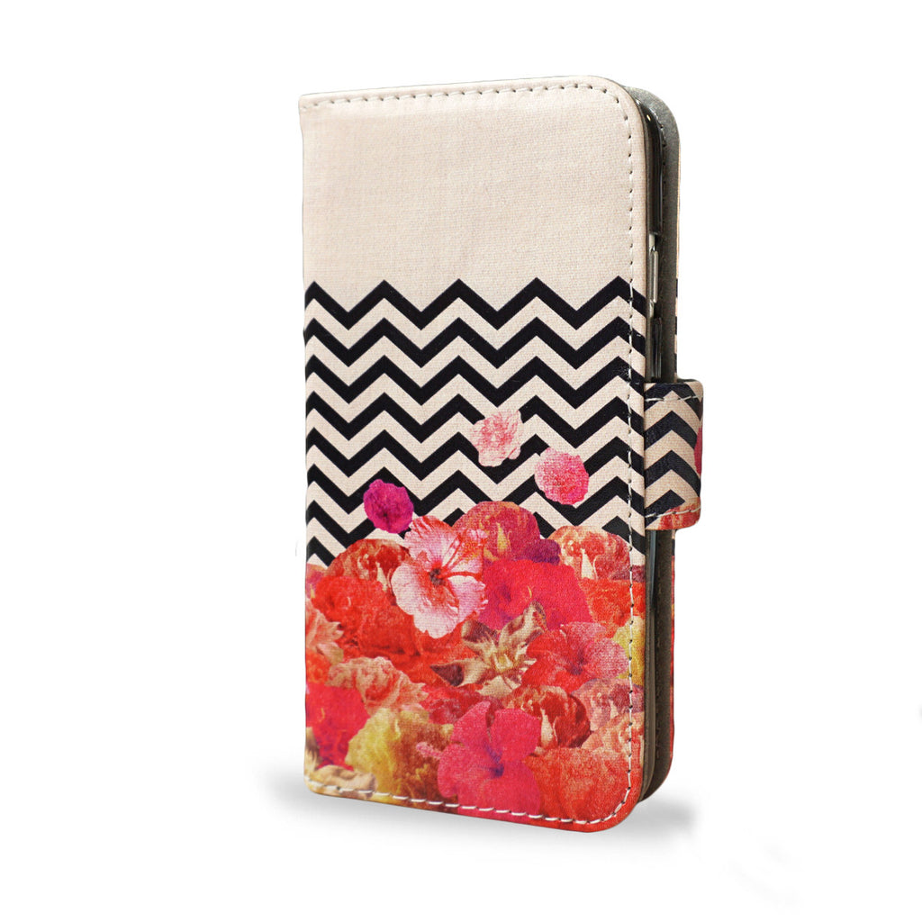 SALE 'Chevron Flora II' iPhone SE Wallet Case, , Create&Case - createandcase