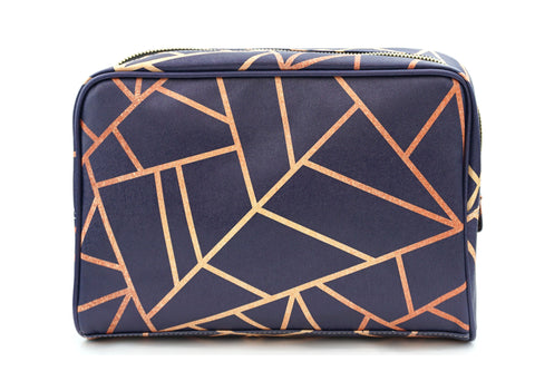 Copper & Midnight Navy - Large Geometric Vegan Wash Bag