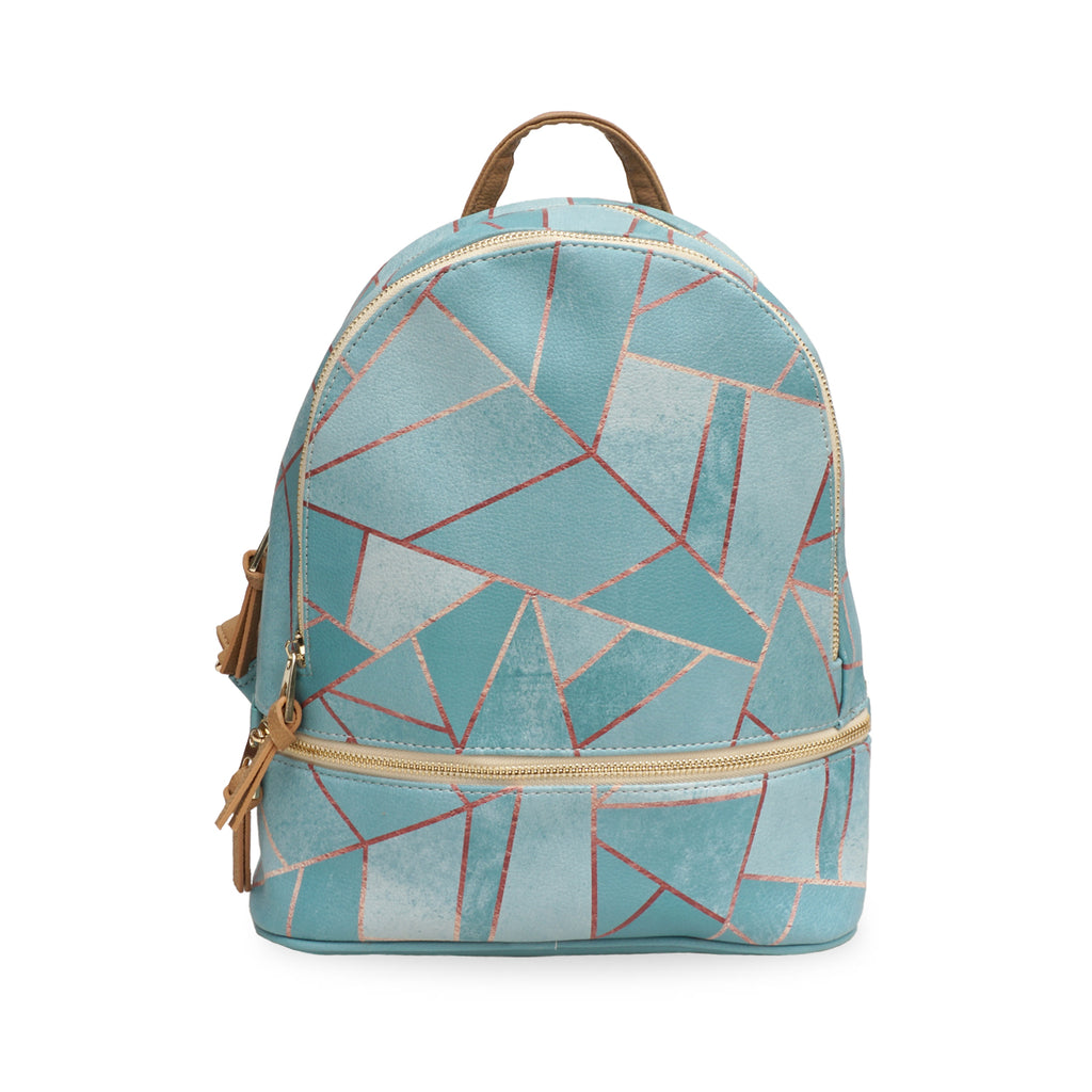 Duck Egg & Copper - Small Green Designer Backpack in Vegan Leather