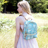 Duck Egg & Copper - Small Leather Backpack in Green