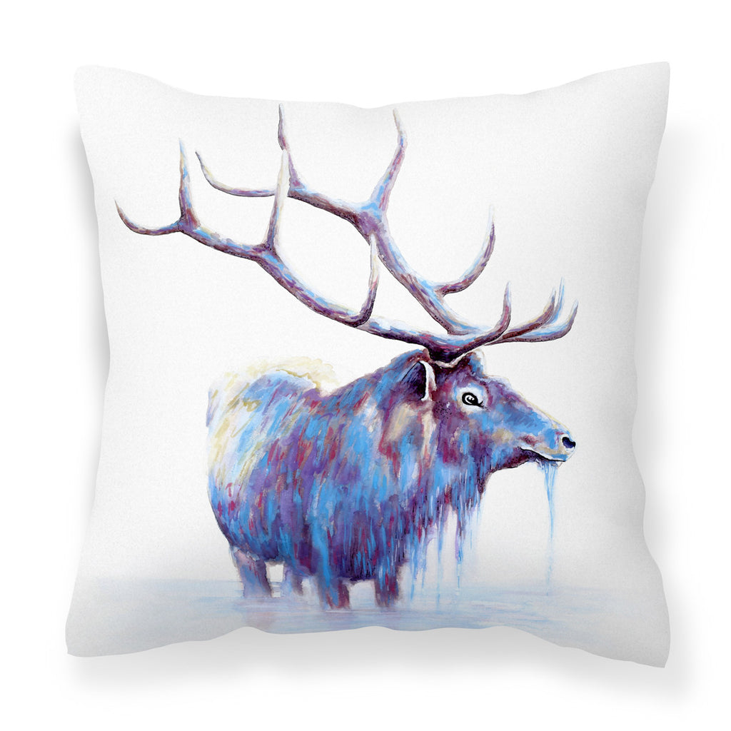 Watercolour Elk - Modern White & Blue Animal Print Stag Cushion