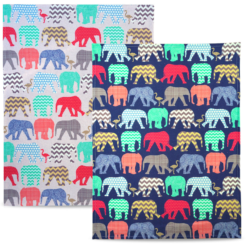 Elephants & Flamingos - Colourful cotton tea towels, modern interior, stylish housewarming gifts, createandcase