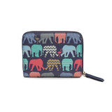 Elephants & Flamingos - Small Vegan Navy Blue Purse Wallet