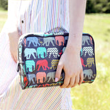 Womens luxury large colourful navy wash bag with elephant print from HETTY+SAM
