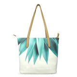 Agave Fringe - Luxury Vegan Leather Tote Bag in White & Green