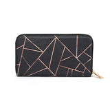 Velvet Black & Rose Gold - Luxury Black Geometric Leather Purse for Women