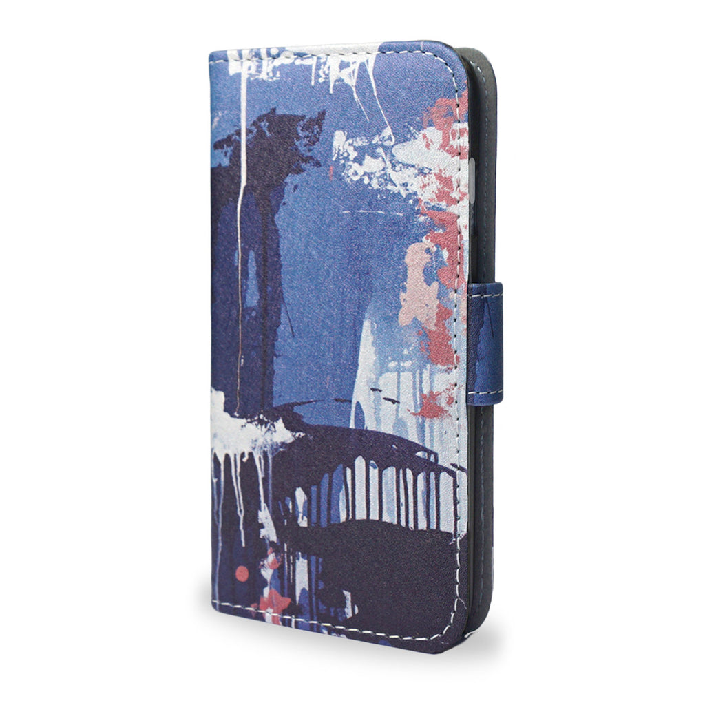 Falling - Hand painted unique gift, iPhone 6/6S leather wallet style case, graffiti iphone 7 case