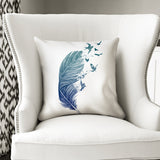 Modern Home Interior - Birds with feather cushion with white outline; Fly Away