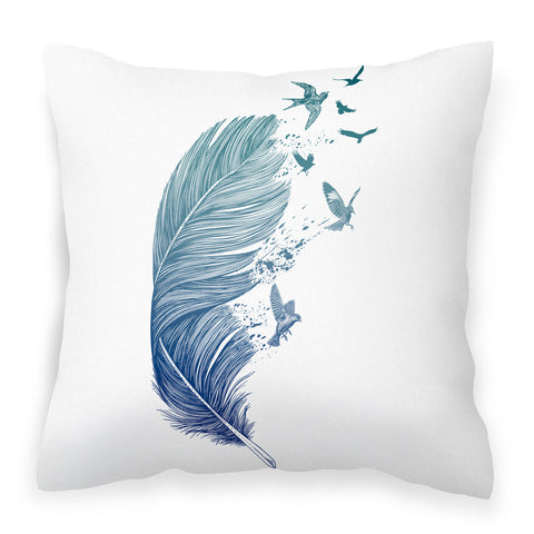 Fly Away - Blue White Cushion with Feather Bird Artwork