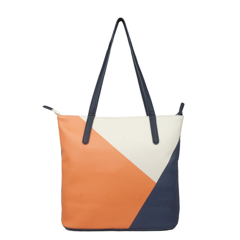 Back to Sail 2 - Luxury Leather Tote Bag in Tan & Navy