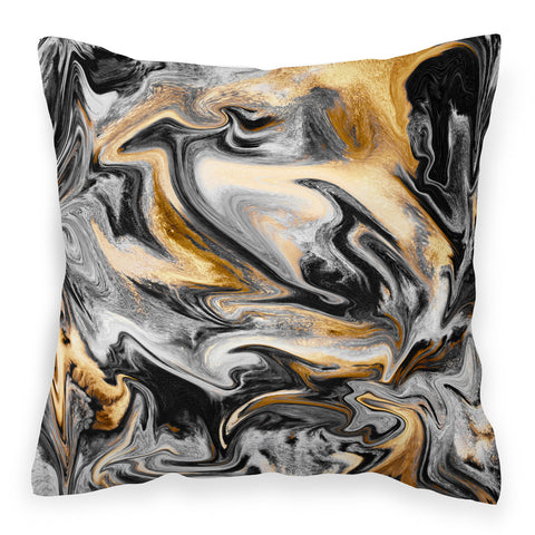 Modern marble effect sofa cushion in gold and black