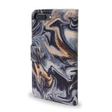 Gold Veins - iPhone 8 Plus Protective Wallet Case Cover with Black Marble design