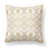 Golden Geo - White & Gold Modern Geometric Vegan Suede Cushion