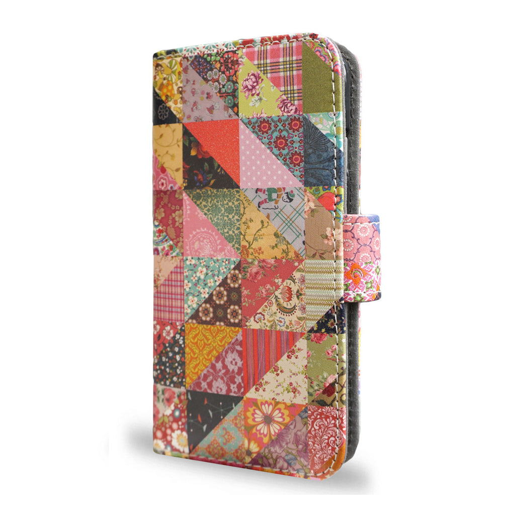 Grandma's Quilt - Patchwork quilted Samsung Galaxy S6 Edge case - vegan leather wallet case s6 edge, unique gifts