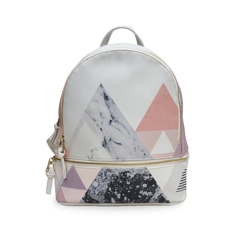 Small Vegan Grey Marble Geometric Backpack, Rucksack