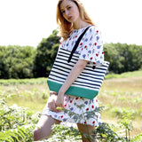 Green X Stripes - Green Vegan Leather Tote Bag with Stripes on Sale for Women