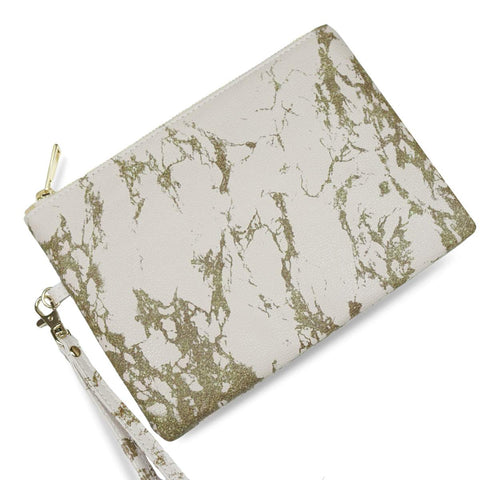 Blush & Gold Marble - Cruelty Free Wristlet Clutch Bag from HETTY+SAM