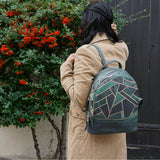 Emerald Night - Luxury Small Leather Backpack in Green & Black from HETTY+SAM