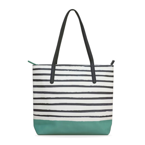 Green X Stripes - Green Tote bag with Striped Pattern on Sale for Women
