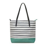 Green X Stripes - Leather Tote Bag from HETTY+SAM for Women