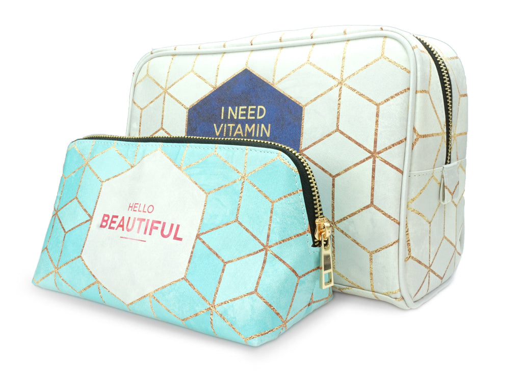 Vitamin Sea Gift Set - Vegan Leather Wash Bag & Make up Bag - Unique gifts for women