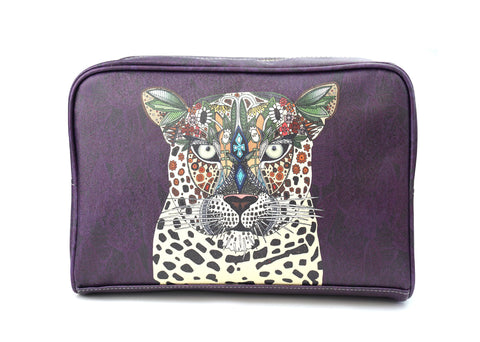 Leopard Queen - Large Wash Bag in Purple with Animal Print