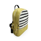 Mustard X Stripes - Womens Small Designer Yellow Vegan Backpack, Rucksack