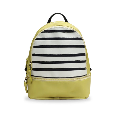 Mustard Yellow Small Vegan leather Backpack with Stripes