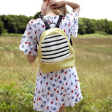 Womens Small Yellow Striped Vegan Leather Backpack from HETTY+SAM