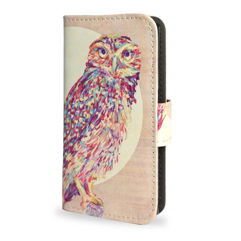 Sony Xperia X Compact Leather Wallet Case - Watercolour Owl - Vegan Leather