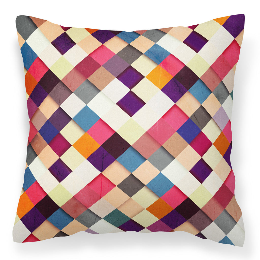 Pass it On II - Stylish Vibrant Checkered Patchwork Cushion
