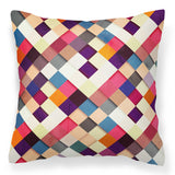 Stylish Patchwork 18' Cushion - Multicolour modern sofa pillow