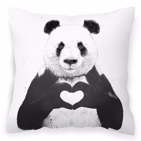 All You Need Is Love - Black & White Panda Print Cushion