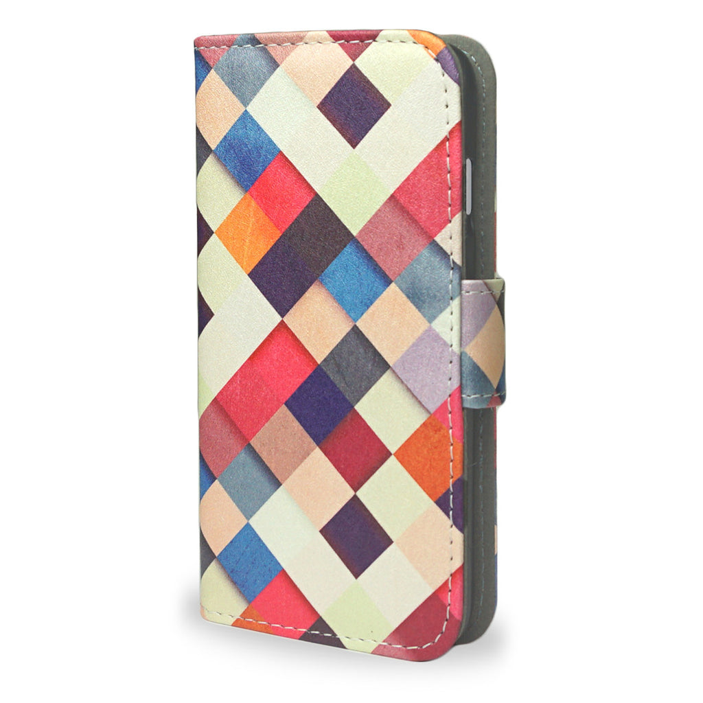 iPhone 8 Wallet Case - Multicolored Vegan Checkered Cover 'Pass it On'