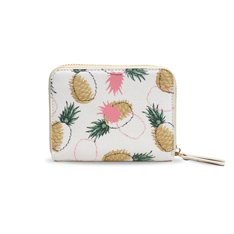 Pineapple & Pinecones - White & Pink Vegan Small Purse, Mini Wallet