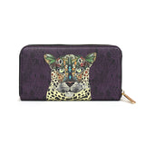 Leopard Queen - Purple Animal Print Leather Purse for Women