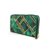Emerald Blocks - Green & Gold Leather Purse for Women from HETTY+SAM