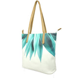 Agave Fringe - Luxury White & Green Leather Tote Bag with Agave Plant Design
