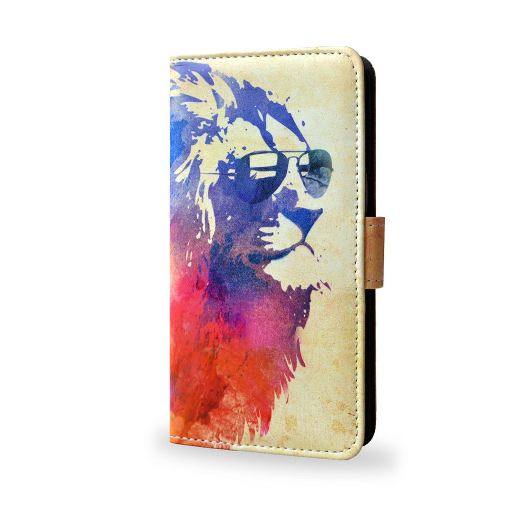 Sunny Leo - Watercolour lion case for Samsung Galaxy S6, Leather wallet case for s6