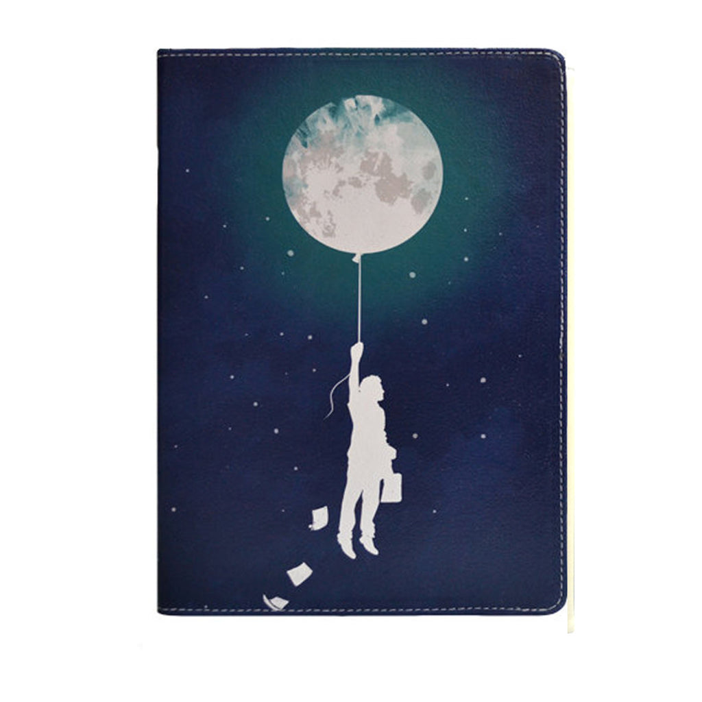 Burn the Midnight Oil - Blue Samsung Galaxy Tab S2 9.7 inch vegan leather folio case, artisitc, moon