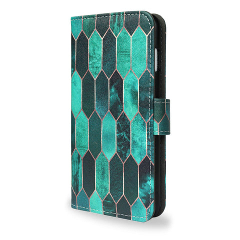 Stained Glass - Colourful green design, iPhone 7 leather wallet case, vegan leather