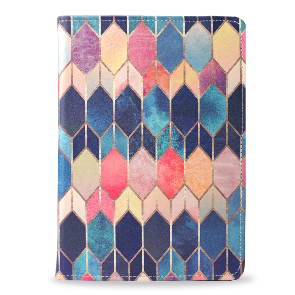 Colourful iPad Air vegan leather folio case cover, stained glass, createandcase
