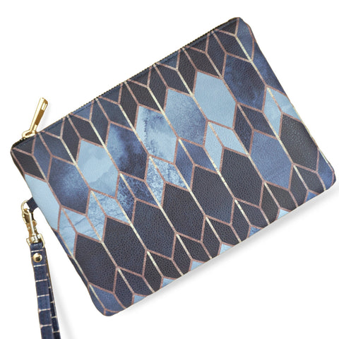 Create&Case 'Stained Glass 4' Geometric Print Vegan Leather Clutch Bag By Artist Elisabeth Fredriksson
