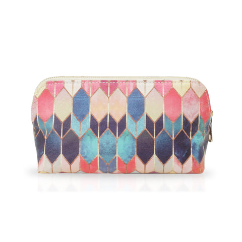 Stained Glass Multi - Pastel Coloured Cosmetic Make Up Bag