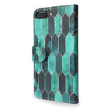 Stained Glass - Colourful green design, iPhone 7 Plus leather wallet case, vegan leather