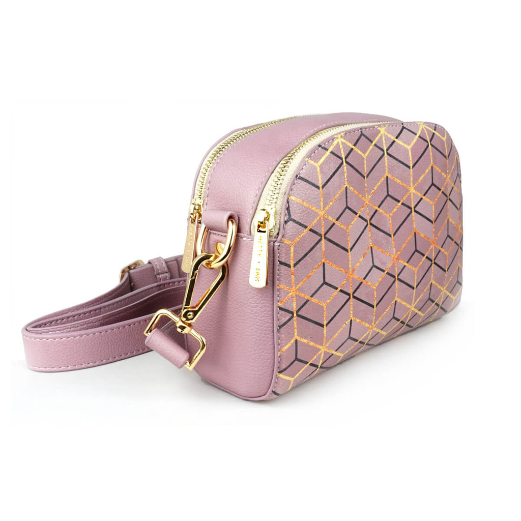 Pretty Geometry - Womens Purple Mink Geometric Vegan Cross Body Messenger Bag