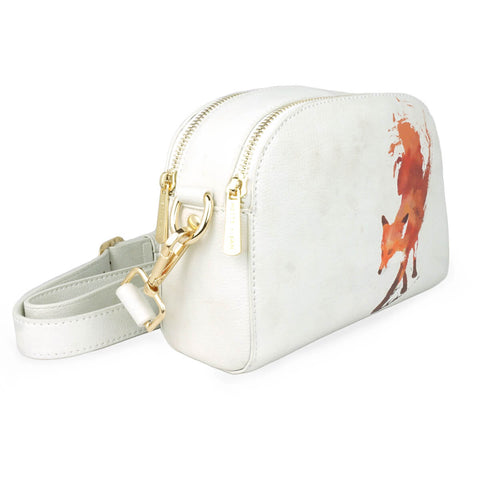 Vulpes - Womens Designer Vegan Leather Cross Body Bag with Red Fox artwork