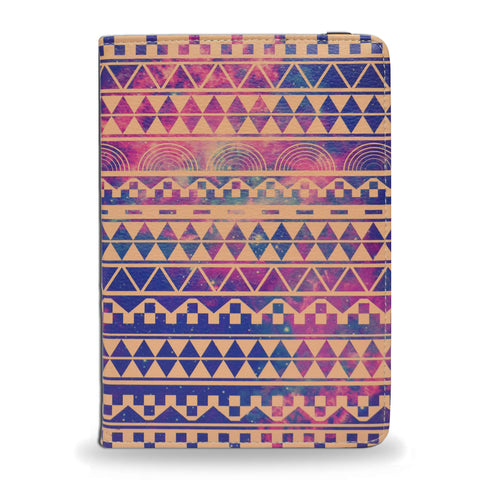 Blue, purple, aztec iPad Mini 4 vegan leather case, cover, unique gifts